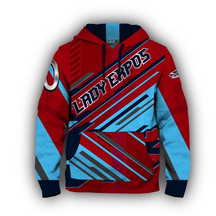 Digital Red & Navy Full Dye Hoodie