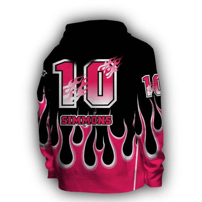 Flame Dark Pink & Black Full Dye Hoodie