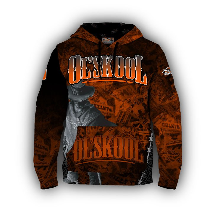 Gunslinger Orange & Black Full Dye Hoodie