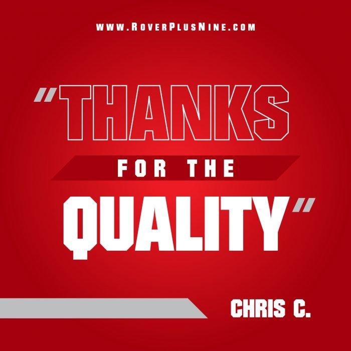 Testimonial - Thanks for the quality